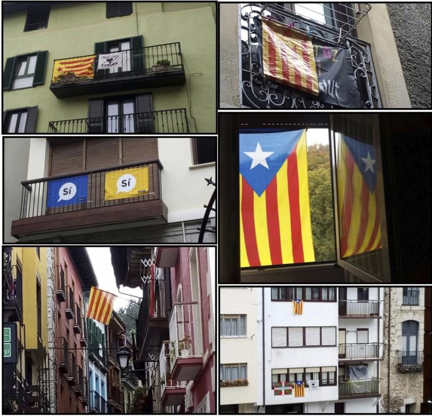 Kataluniako erreferendumaren aldeko ikurrak, Mutrikuko hainbat etxebizitzatan.