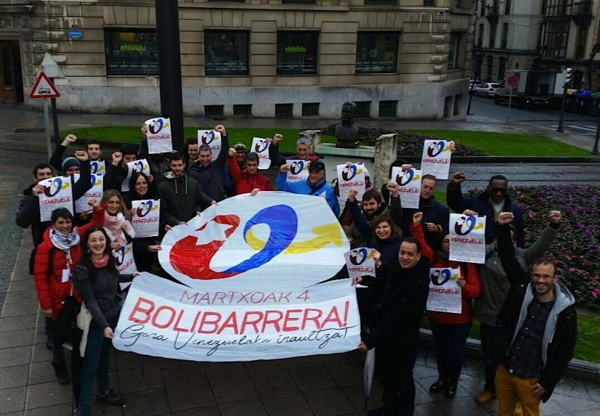 Venezuelaren alde Ziortza-Bolibarren egingo den jairako deia egiteko argazkia. Argazkia: Ernai