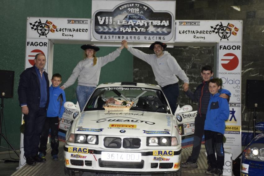 Alaitz Urkiola eta Aingeru Castro, Lea-Artibai Rally lasterketako txapelak soinean